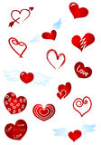 Red hearts. Illustration: set red symbols - hearts Royalty Free Stock Images