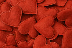 Red Hearts. Small red hearts made of felt Stock Photos