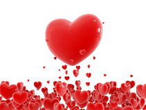 Red hearts. Flying out from little hearts cloud Stock Photos