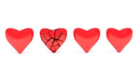 Red hearts. Isolated on white Royalty Free Stock Photos