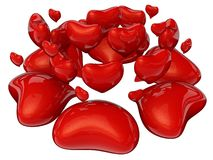 Red hearts. Flying Red hearts isolated on white vector illustration
