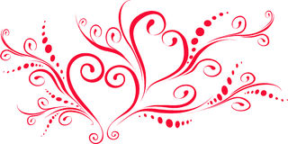 Red hearts. White background with red hearts Stock Photography