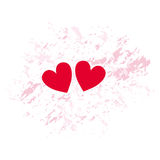 Red hearts. Two red hearts on a unique pink background. Vectorial illustration Royalty Free Stock Photo