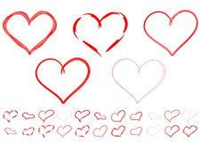 Red hearts. Red hearts with different outlines Stock Image