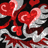 Red hearts abstract pattern graffiti on a black background Royalty Free Stock Images