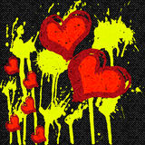 Red hearts abstract pattern graffiti on a black background Stock Photography