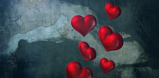 Composite image of red hearts royalty free stock photography