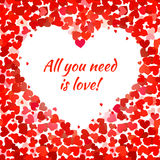 Red hearts and all you need is love phrase Stock Photo