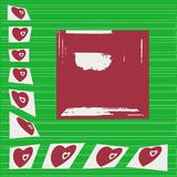 Red hearts around the edge. Green striped background. Red square in the middle for writing text. stock illustration