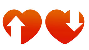 Red hearts with arrows Royalty Free Stock Images