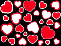 Red hearts background. Red and white hearts on the black background Stock Photo