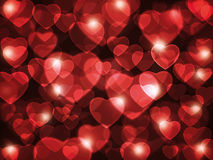 Red hearts background. Beautiful red hearts lens flare background Royalty Free Illustration