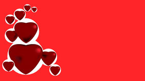 Red hearts. On red background Vector Illustration