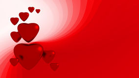 Red hearts. On red background Stock Photo