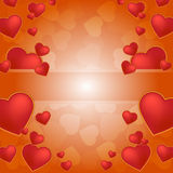 Red hearts background with frame Stock Photo