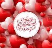Red Hearts Background with Happy Valentines Day Greetings Stock Photos