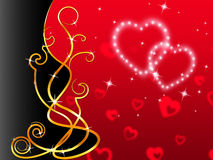 Red Hearts Background Means Love Dear And Floral Royalty Free Stock Photo