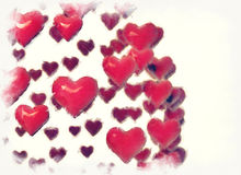 Red hearts background. Background with pink hearts digital painting Royalty Free Illustration