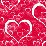 Red Hearts Background Showing Love Stock Photography