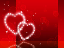 Red Hearts Background Shows Fondness Special And Sparkling Stock Images