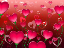 Red Hearts Background Shows In Love And Abstract Royalty Free Stock Photos