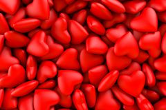 Red hearts. Background texture of hearts. Valentine`s Day. 3D rendering illustration. Red hearts in a box. Background texture of hearts. Valentine`s Day. 3D royalty free stock photo