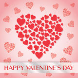 Red Hearts Background for Valentine's Day. Red heart illustration on pink background specially for valentines day and wedding, lovers, couples related designs Stock Photo
