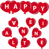 Red hearts balloon with text on white background. Vector illustration Stock Photography