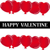 Red hearts balloon with text on white background. Vector illustration Stock Images