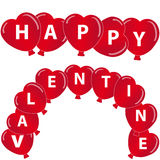 Red hearts balloon with text on white background. Vector illustration Stock Photo