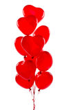 Red hearts balloons. Isolated on white Royalty Free Stock Photos