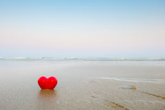 Red hearts on the beach Royalty Free Stock Photography