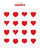 16 red hearts. Beautiful hearts for use in any project. 16 different versions. Be my valentine royalty free illustration