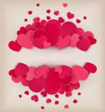 Red hearts on a beige background with a card for the text. Stock Photo