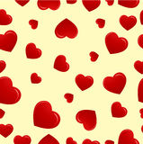 Red hearts on biege background. Red hearts on biege pattern background stock illustration