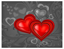Red hearts on black Royalty Free Stock Images