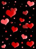 Red hearts on black background Stock Photography