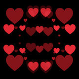 Red hearts and black background. Abstract shape Royalty Free Stock Photography