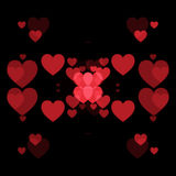 Red hearts and black background. Abstract shape Royalty Free Stock Photos