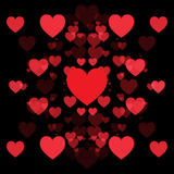 Red hearts and black background. Abstract shape Stock Images
