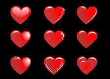 Red hearts on a black background, collection. The collection of red hearts on a black background. Vector illustration Stock Images