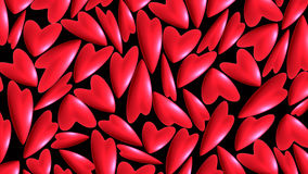 Red hearts. On black background for valentine day Stock Illustration