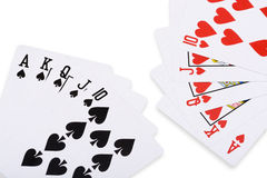 Red hearts and black spade royal straight flush poker Royalty Free Stock Photo