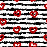 Red hearts, black stripes. Smear brush, white background. Seamless pattern vector illustration