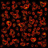 Red hearts on black Stock Photo