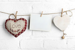Red hearts with blank card Royalty Free Stock Photo