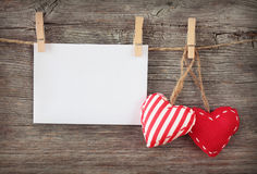 Red hearts and blank note Stock Images