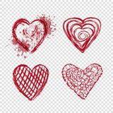 Red hearts with blots and lines, valentines day Stock Photo