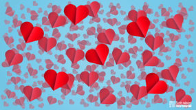 Red Hearts. Blue Background Stock Images