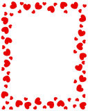 Red hearts border. For valentines day designs Stock Image